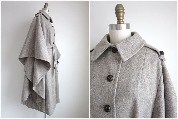 1970s Poncho / Vintage 1970s Wool Cape / by CanaryClubVintage