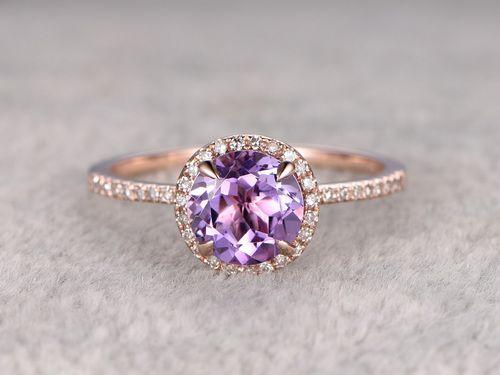 Natural 7mm Round Cut Amethyst Engagement Ring Diamond Wedding Ring 14k Rose Gold Halo Prong Set