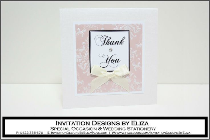 Thank You Card Designs  {Wedding} Pale Pink, Pale Yellow & Pearl Theme www.facebook.com/InvitationDesignsByEliza
