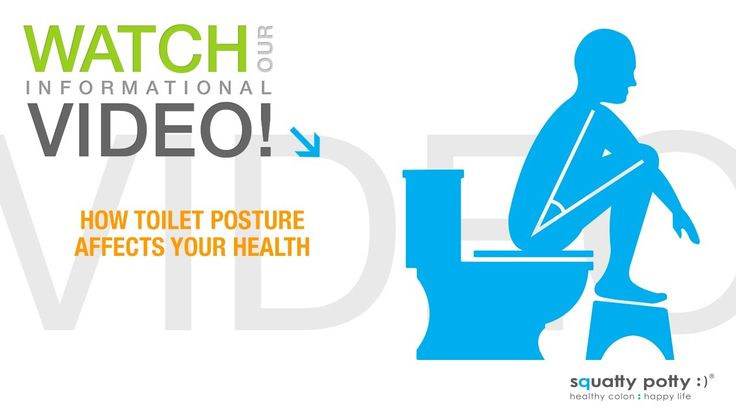 Squatty Potty® toilet stool::How toilet posture affects your health. Educational video about the effects of improper toilet posture and how it can affect your health. How using a Squatty Potty toilet stool can help with straining issues such as hemorrhoids, pelvic organ prolapse, constipation, bloating and IBS. A great, healthy solution. Learn more at www.squattypotty.com