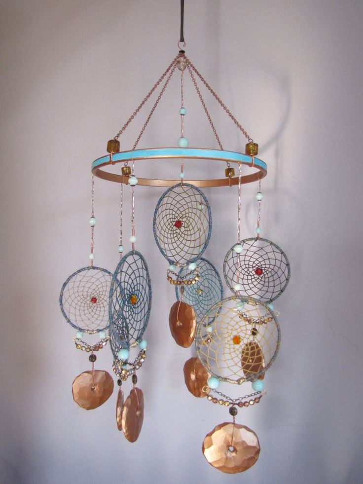 Teal and Copper Dream Catcher Mobile with Copper Disks by TheSleepySilkworm on Etsy