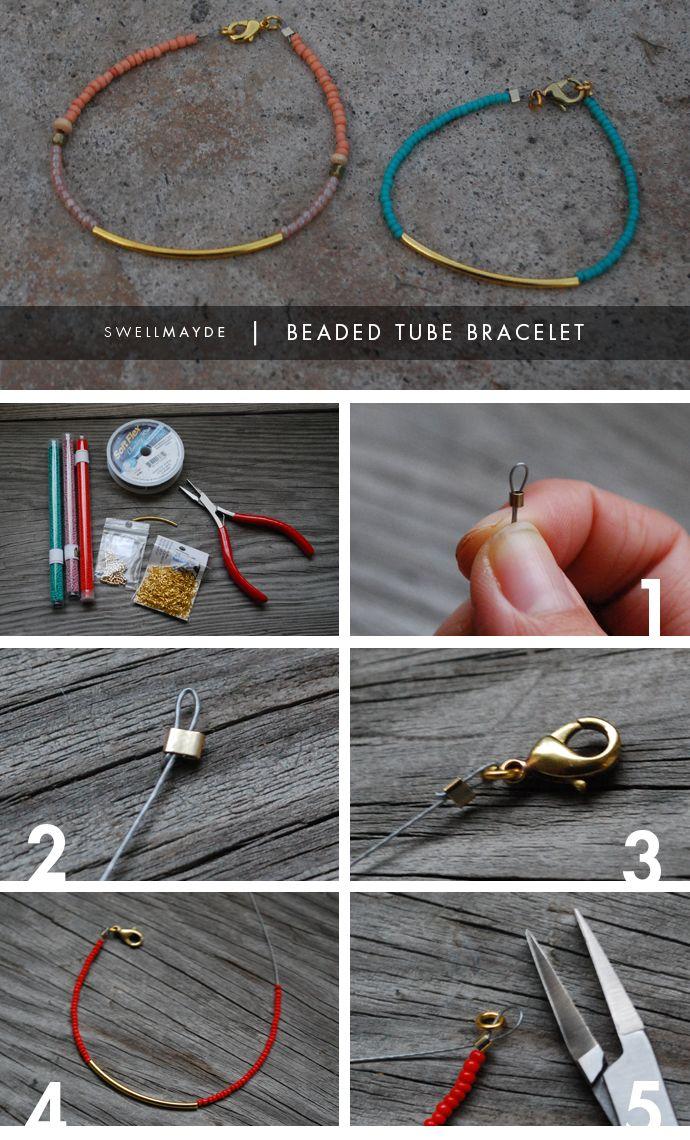 DIY: beaded tube bracelet