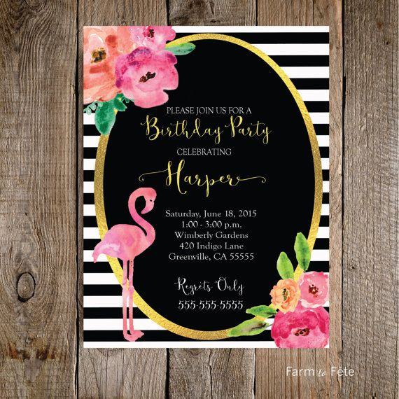 Black and White Flamingo Birthday Party Invitation- Customized 5x7 printable modern gold foil watercolor peony flowers stripes preppy