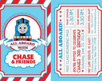 thomas the train birthday invitation por dundadesign en etsy - Thomas The Train Party Invitations