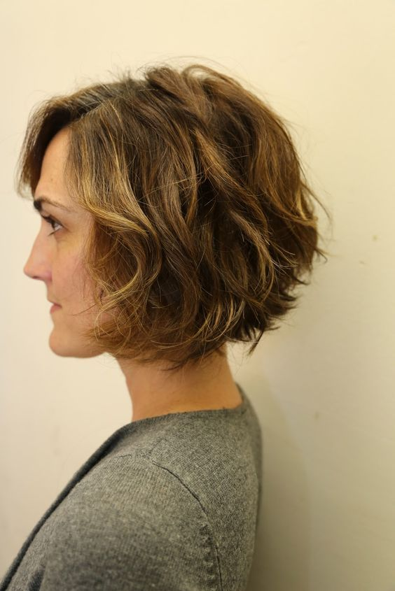wavy bob - this is basically what my hair does. I love the cut.: