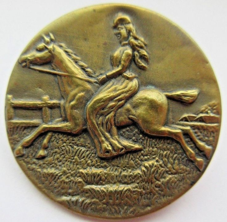 Wonderful X LARGE Antique Metal Picture BUTTON Empress Elizabeth on HORSE (X19)