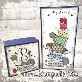 Cake Crazy und Love you Lots von Stampin´Up Geschenkschachtel und Karte zum 18. Geburtstag