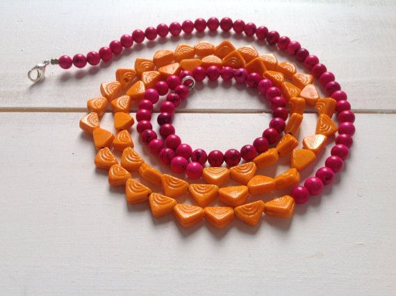 Bombay Betsy Necklace in hot pink and orange by CustardFox on Etsy