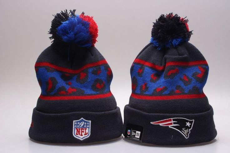 Men's / Women's New England Patriots New Era NFL Black Polar Prints Cuffed Knit Pom Pom Beanie Hat