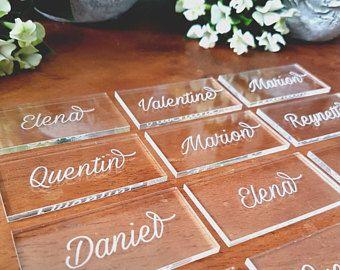 Marque place (20) nom en acrylique pour mariage baptême communion fête tag de noms pour places invités à table marques-places sièges invités