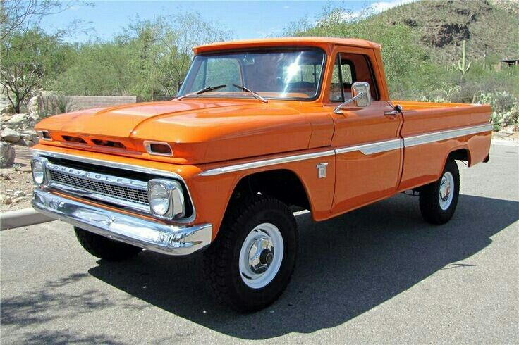 My dream truck! Never been a fan of the color orange, but I love they way it looks on an old Chevy pickup!
