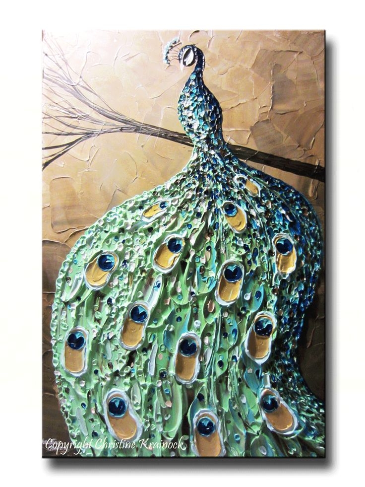 "CUSTOM Abstract Painting Peacock Textured Contemporary Impasto Art Blue Green Gold MADE to ORDER xl to 40"" -Christine Krainock"