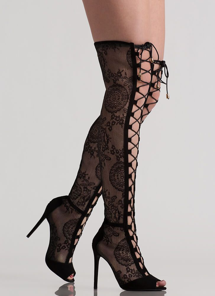 7f15f4100f0 Lovely In Lace Lace-Up Thigh-High Boots BLACK RED NUDE - GoJane.com