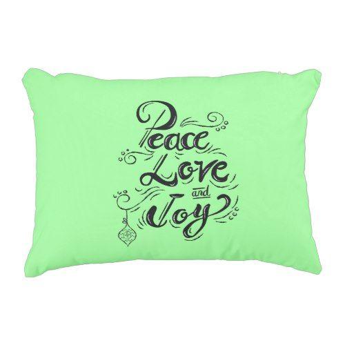"""Peace Love Joy"" Christmas mint green bedding Decorative Pillow"