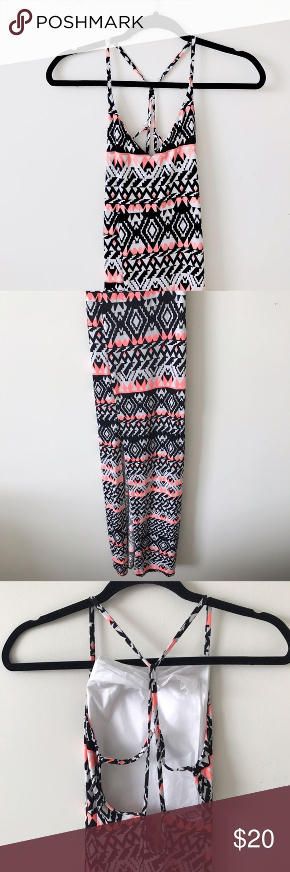 Aztec Print Maxi-dress with Strappy Back Never worn (except for trying on). I am 4'11 and it hits me right above my toes. Perfect fit! UK 4. US 0 Boohoo Petite Dresses Maxi