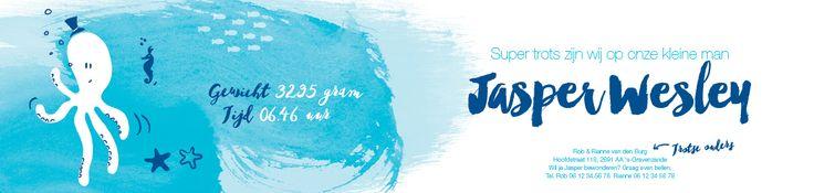 Collectie 2 | Gaafkaartje | Unieke geboortekaartjes | Illustratie | children Illustration | jongen | zee | blauw | octopus