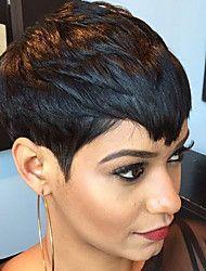 Moden varm salg svart kort rett hår humant hår parykker