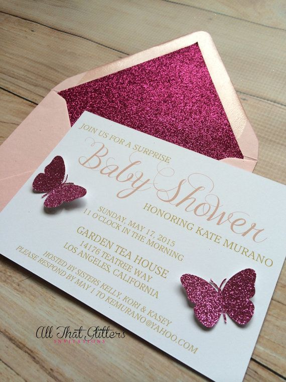 Glitter invitations | butterfly invitations | babyshower invitations | pink…