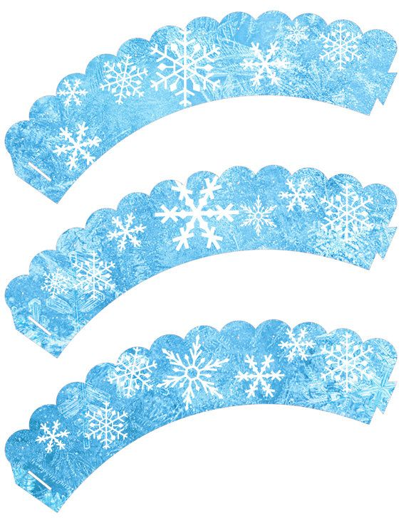 Instant Download!! Frozen Birthday Party Cupcake wrappers JPEG 300 dpi Printable DIY snow flakes disney Olloff Anna Elsa Winter wonder land
