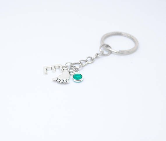 Personalized New Mom Keychain First Mothers Day Gift Mom Keychain Babys Footprint Keychain New Grandma Baby Feet Birthstone New Baby Newborn