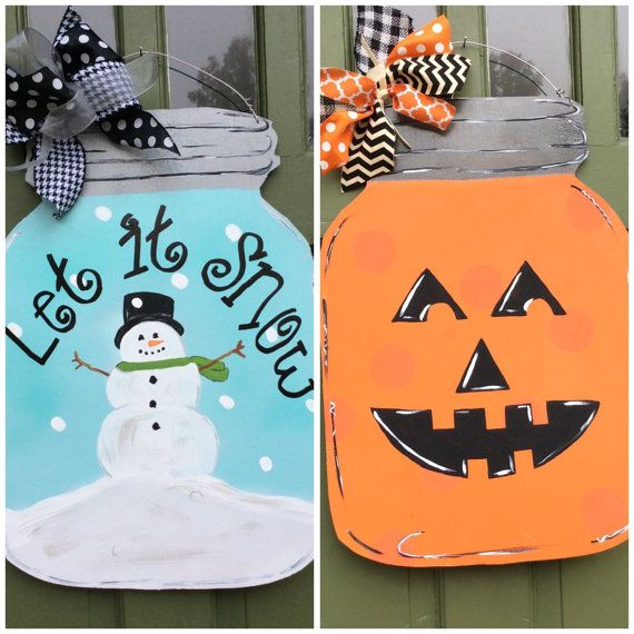 This mason jar is reversible!! Get 2 door hangers in one!! Its perfect way to greet visitors to your home. Its made to order from mildew resistant hardwood plywood, primed, hand painted and sealed. It comes with 2 bows that are treated with scotch guard and has a wire hanger on top. Its ready to hang on the door and greet your guests. It measures 24x16. Everything is hand painted and lettering is hand written. Please expect small variations and writing based on artistic view. Specify bow…