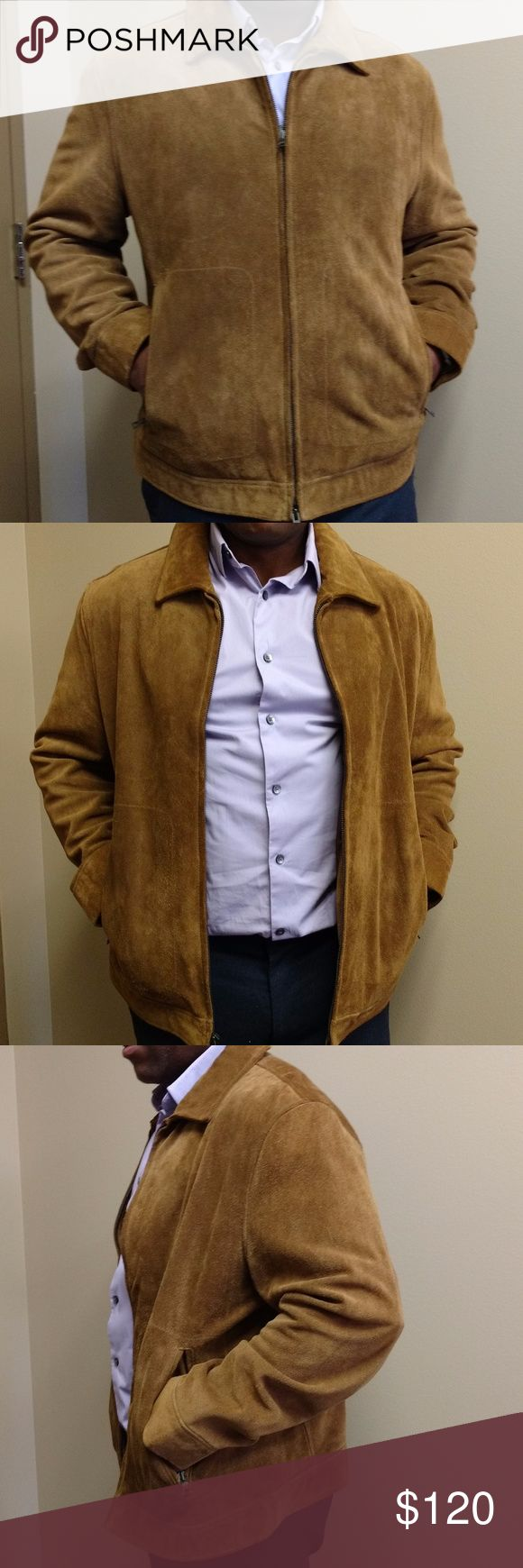 Banana Republic Men's Suede Bomber Jacket Banana Republic Men's Suede Bomber Jacket size large. Good condition, very rarely worn. Two exterior zip pockets, main zipper in great condition.  Waist: 35 inches Chest: 41 inches Sleeve: 35 inches Made in China Banana Republic Jackets & Coats Bomber & Varsity