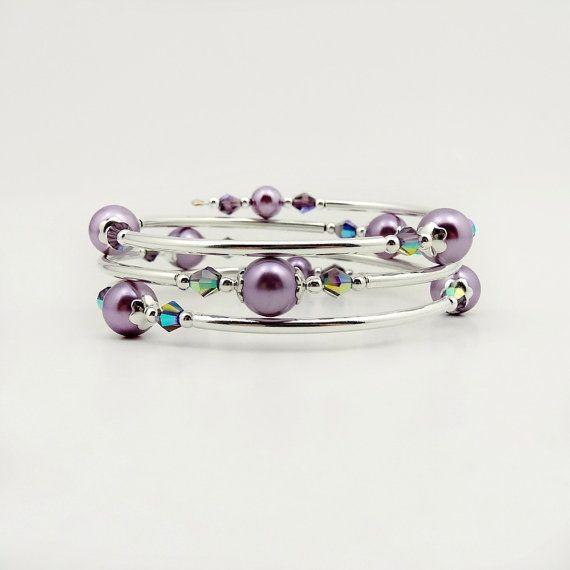 Lavender Memory Wire Bracelet Purple Pearl by ReneeBrownsDesigns