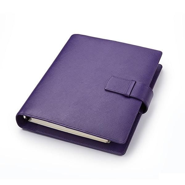 Leather Manager A5 Organiser in Purple Saffiano