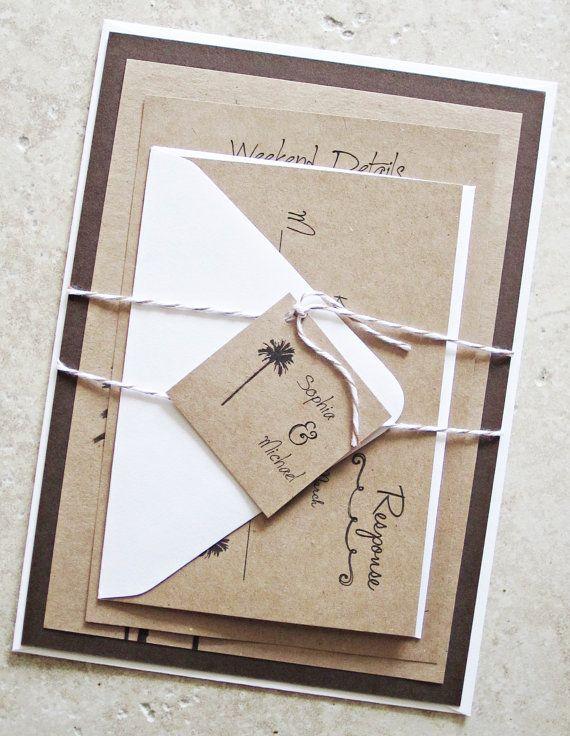 Rustic Palm Tree Wedding Invitation  Vintage by RiverCityStudio, $5.50