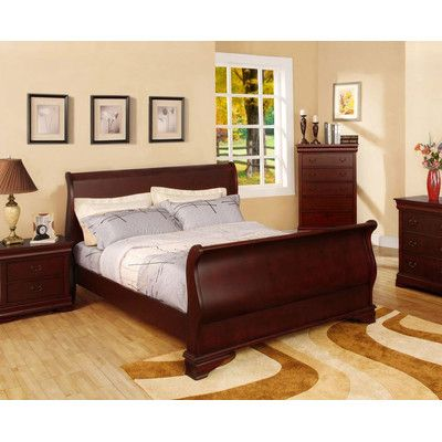 Features:  -Frame construction: Solid wood.  -Finish: Cherry.  -Transitional style sleigh bed.  -Updated French-inspired sleigh design.  -Scrolling high head and foot board.  -Decorative bracket feet.