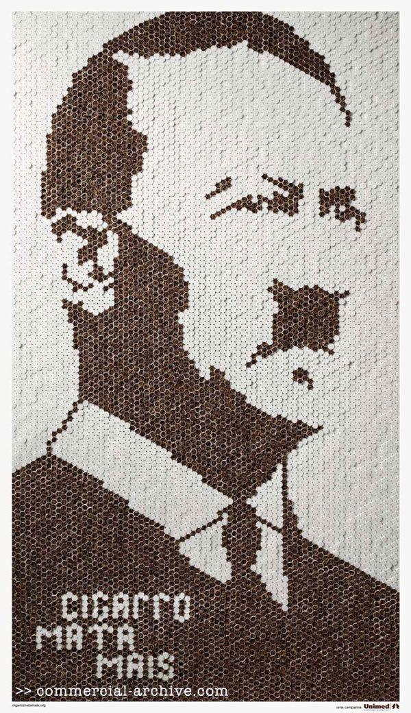 """""""El cigarrillo mata más"""", dice esta grafica de hizo la agencia F/Nazca Saatchi & Saatchi (Brasil), y tiene un retrato de Hitler hecho con ambos extremos de una gran cantidad de cigarrillos, para reafirmar lo que titula. Esta fue una propia iniciativa para concientizar sobre uno de los principales motivos de muerte en el mundo. A veces ocurre que las agencias comunican por propia voluntad (y responsabilidad) causas de bien público o valores en los que creen, y aprovechan la difusión para ..."""