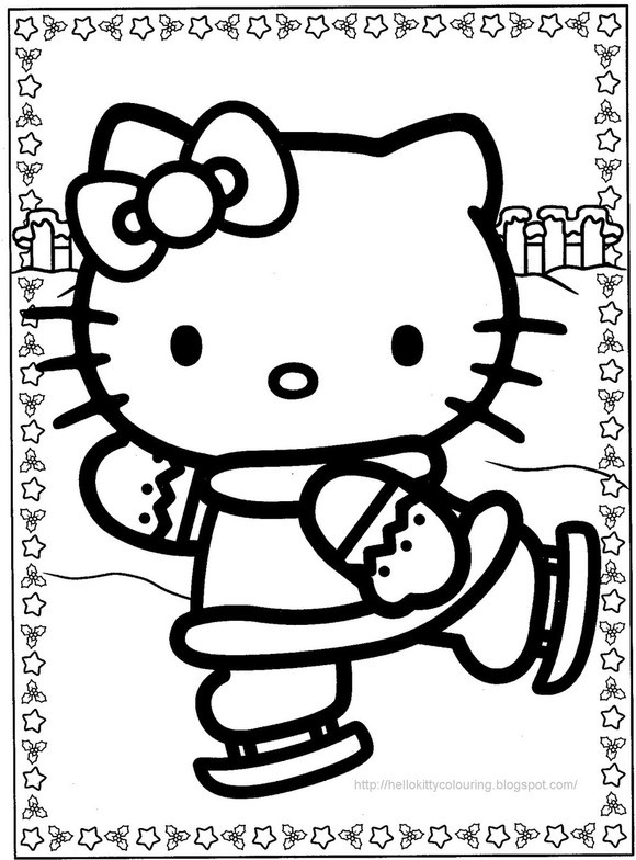 Hello Kitty Ice Skating Winter Coloring Page