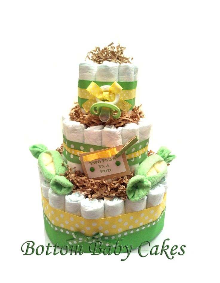Two Peas In A Pod Baby Diaper Cake Baby Gift Set Shower ...
