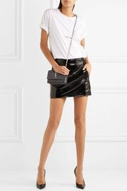 Patent-leather mini skirt