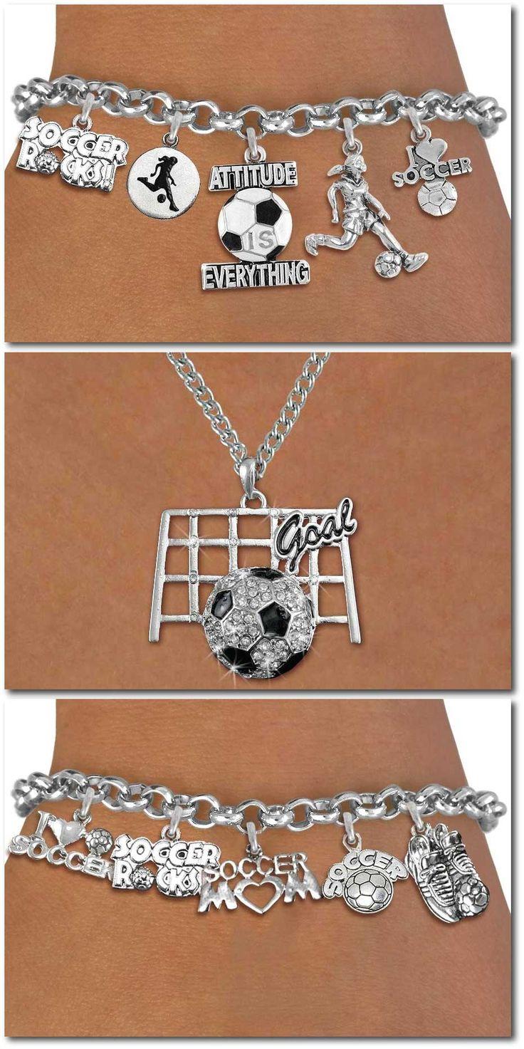 Soccer Five Charm Bracelet  Silver Chain Bracelet W Silver Charms