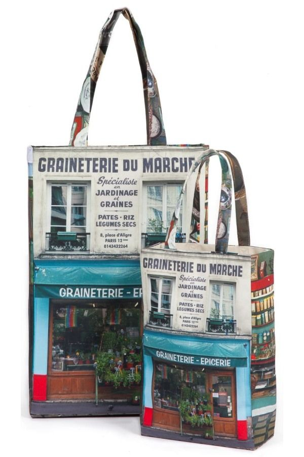 """Bag Graineterie du marché Paris-retro-style - Grocery. Visit Maron Bouillie's Paris rétro-style and its bags full of stories. The seed shop """"La Graineterie du marché d'Aligre"""" is a must visit. Established 1895, it has travelled down the times. On one side of this """"grocer's"""" bag the window is printed. When you turn it over you are inside the place. Stock up on loose seeds, cereals and pulses!"""