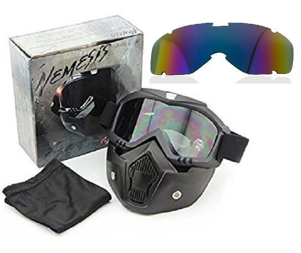 Outlaw 50 Nemesis Motorcycle Face Mask / Goggles With Extra Rainbow Shield #Outlaw