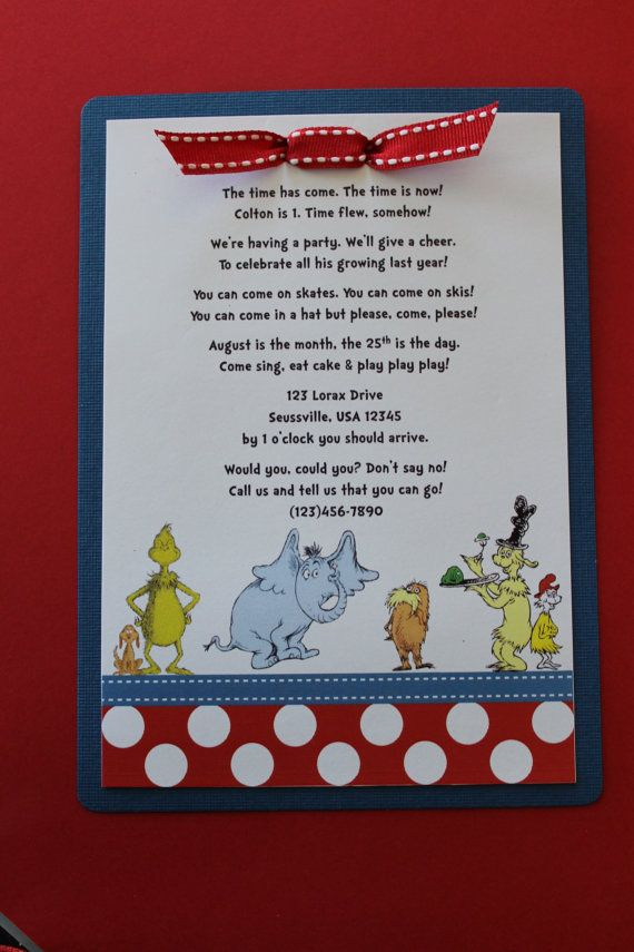 Dr Seuss Birthday Invitation with Polka Dot by ThatsSoCuteEtsyShop, $25.00