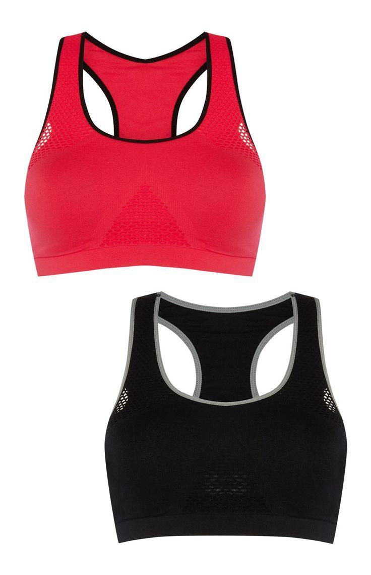Naadloze sportbeha rood/zwart, set van 2