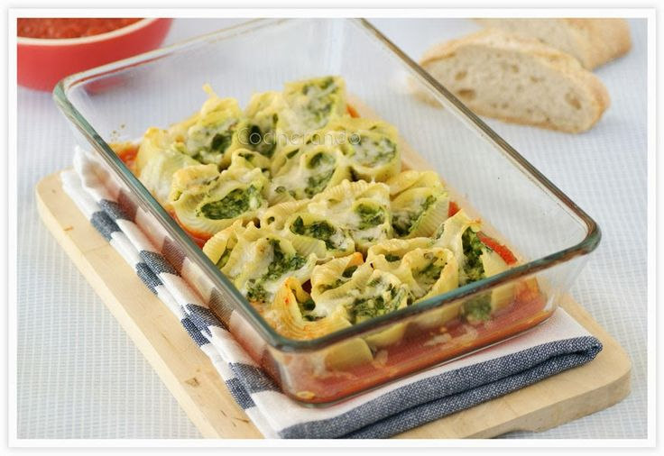 Cocinerando: Conchas de Pasta rellenas de Ricotta y Espinacas
