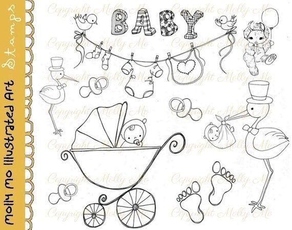 Cigogne téléchargement instantané de douche de bébé Digital timbres papier craft