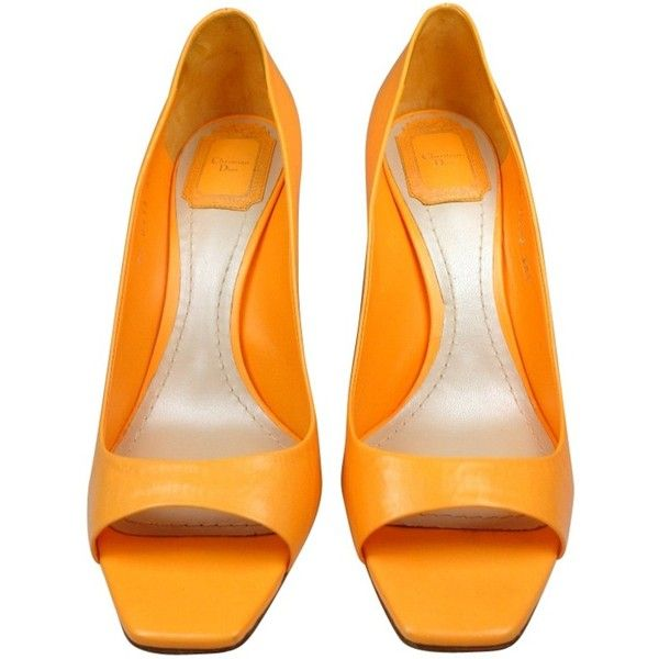 Pre-owned CHRISTIAN DIOR HIGH HEELS IN ORANGE LEATHER ($385) ❤ liked on Polyvore featuring shoes, sandals, orange, heels, обувь, heeled sandals, orange high heel sandals, leather sole shoes, leather shoes and genuine leather shoes