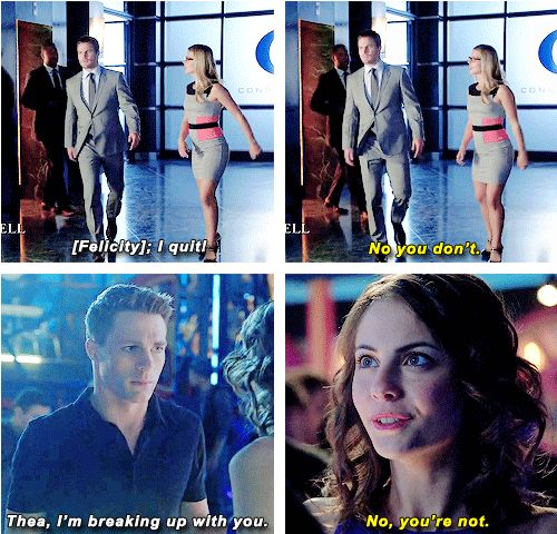 Oliver, Felicity, Roy and Thea #Arrow #Queens can't take no for an answer :)