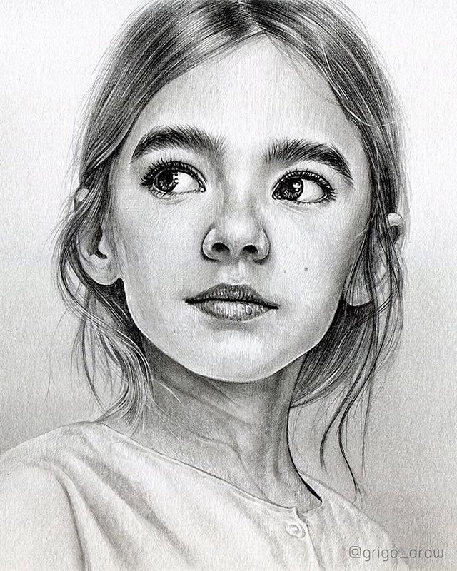 Portrait drawing of young girl, women deep penetration orgasm gif