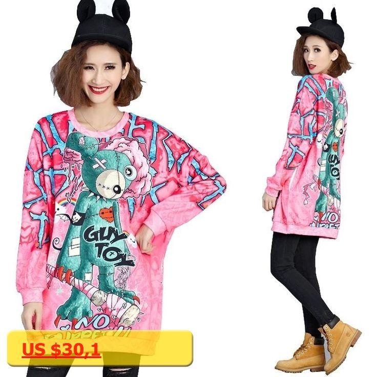 Plus Size Women Sweatshirts 4XL 5XL 6XL Autumn Winter Kpop Pink 3D Print Woman Jumper Fashion Long Sleeve Drop Shoulder Pullover