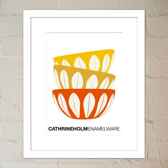 3 Stacked Cathrineholm Enamelware Bowls Wall Art by paper4download