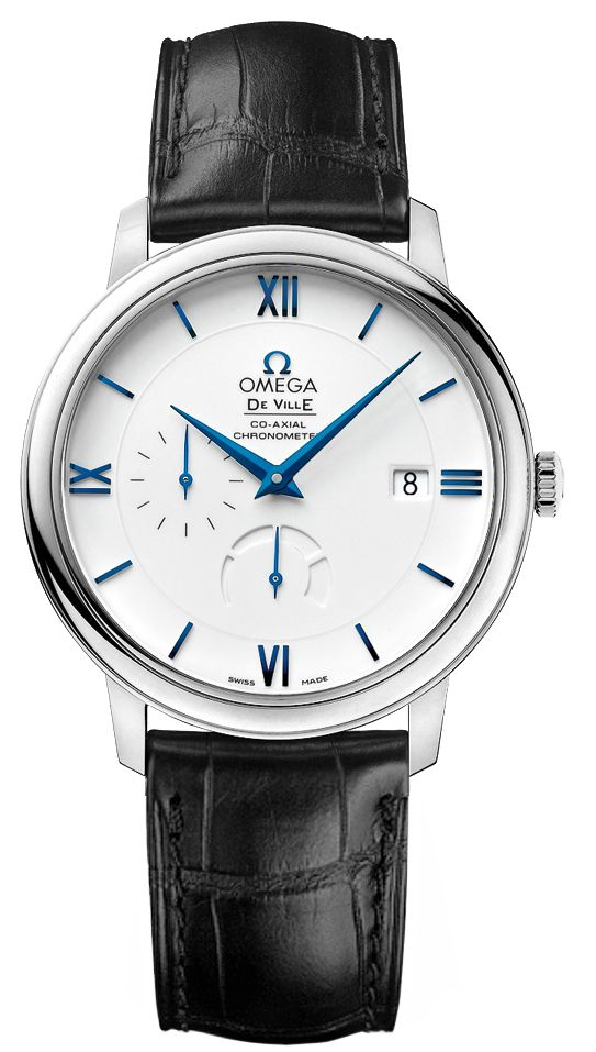 Omega De Ville Prestige Co-Axial Power Reserve 39.5 mm (424.53.40.21.04.001): $13,300 (MSRP), 39.5 mm, white gold