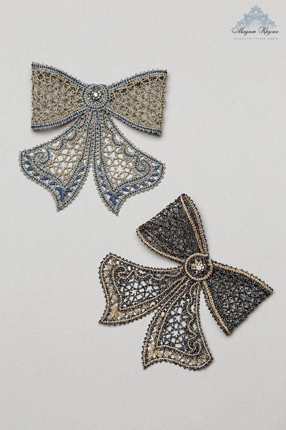 Lace Brooch Bow russian bobbin lace handmade lace por MadamKruje