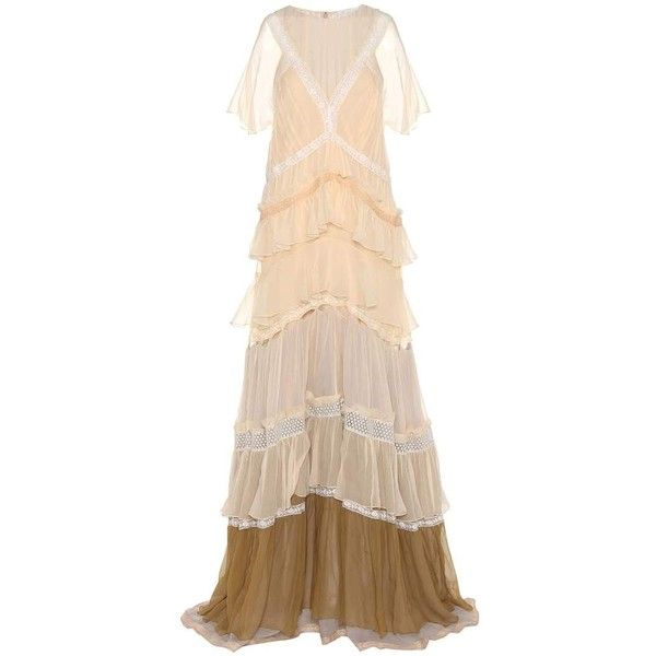 Chloé Lace-Trimmed Silk Dress ($12,190) ❤ liked on Polyvore featuring dresses, cocktail/gowns, neutrals, silk dress, evening cocktail dresses, nude dress, silk evening dresses and special occasion dresses