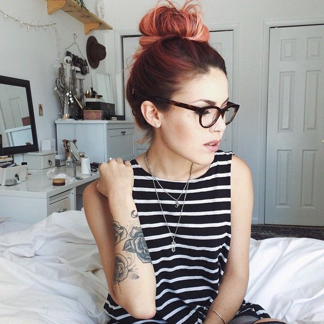 Red Dyed Hairstyle with Bun - http://ninjacosmico.com/32-pastel-hairstyles-ideas/